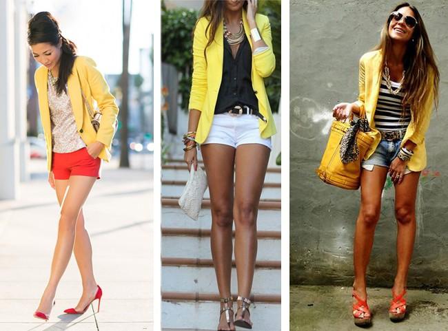 como-usar-blazer-amarelo-com-short