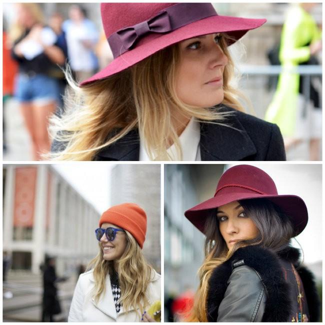 Look de inverno com sobreposição com gorro, boina e chapéu